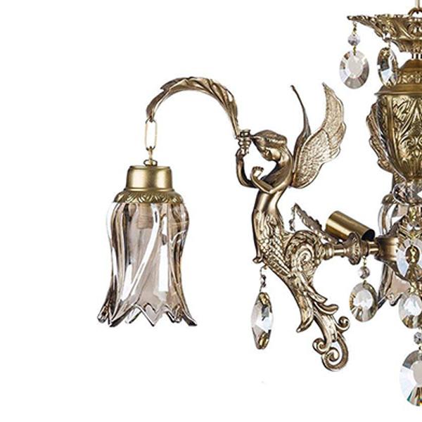 لوستر برنزی طرح فرشته 6 شعله چشمه نور کد C2135/3+3-B برنز