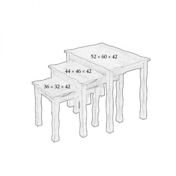 میز عسلی چوبی چشمه نور کد D-112-BR مجموعه 3 عددی قهوه ای
