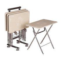 میز عسلی چوبی تاشو چشمه نور کد D-106-WT مجموعه 4 عددی سفید