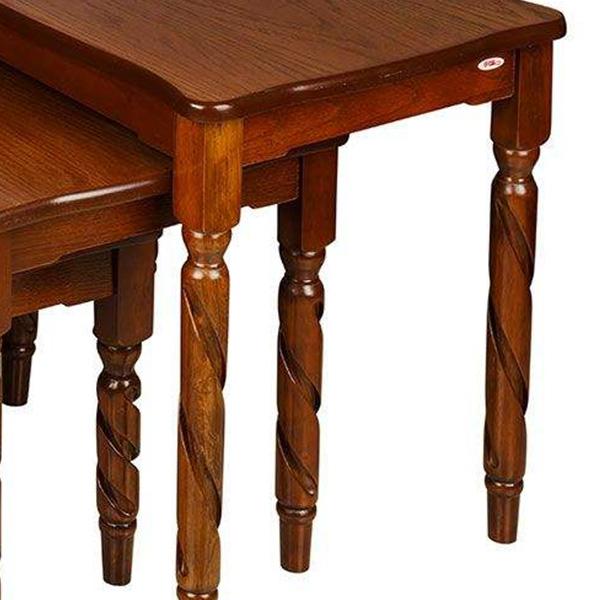 میز عسلی چوبی چشمه نور کد D-111-BR مجموعه 3 عددی قهوه ای