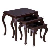 میز عسلی چوبی چشمه نور کد D-104-BR مجموعه 3 عددی قهوه ای