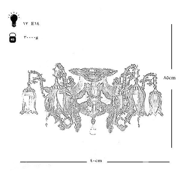 لوستر برنزی طرح فرشته چشمه نور 12 شعله کد C2728-B برنز