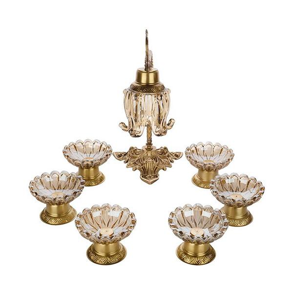 مجموعه هفت سین چشمه نور کد C2763-B به همراه چراغ رومیزی برنز
