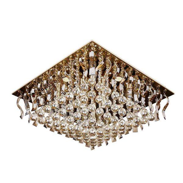 لوستر سقفی کریستالی چشمه نور 18 شعله کد A6638/70-70-S-G طلایی