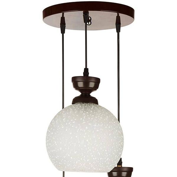 چراغ آویز فلزی و دایکاست چشمه نور سه شعله کد G555/3H-BR قهوه ای