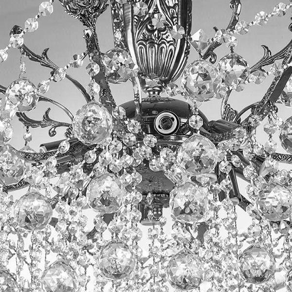 لوستر کریستالی چشمه نور 18 شعله کد H6646/12C کروم