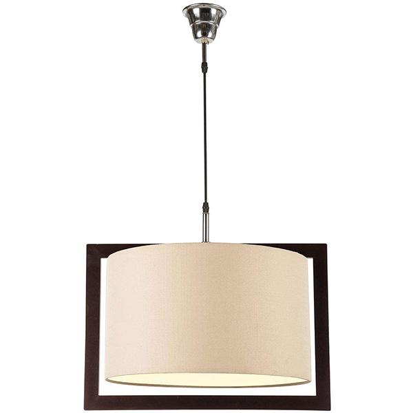 چراغ آویز چوبی چشمه نور کد A7035/1H-BR-CR شید کرم