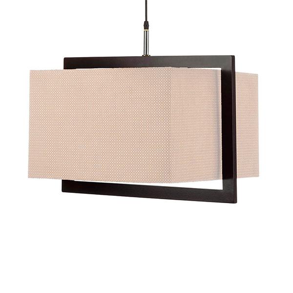 چراغ آویز چوبی چشمه نور کد A7036/1H-BR-CR شید کرم