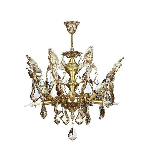 لوستر برنزی طرح فرشته چشمه نور 12 شعله کد C2743/12-A آنتیک