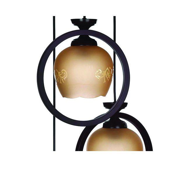 چراغ آویز چوبی چشمه نور 3 شعله کد G513/3H-BK مشکی