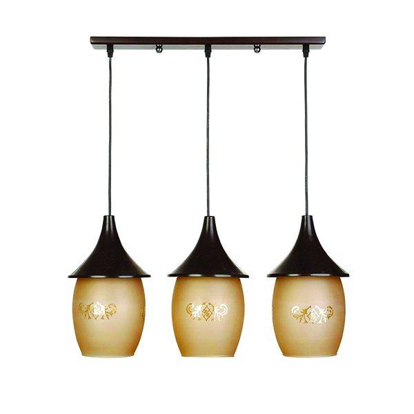 چراغ آویز فلزی و دایکاست چشمه نور 3 شعله کد G545/3H-BR قهوه ای