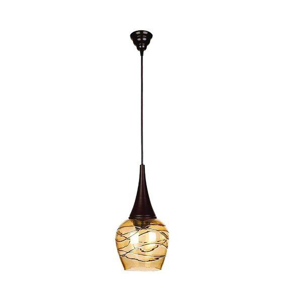 چراغ آویز فلزی و دایکاست چشمه نور 1 شعله کد G550/1H-BR قهوهای