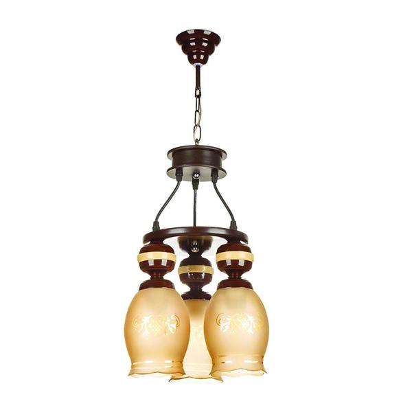 چراغ آویز چوبی چشمه نور 3 شعله کد G565/3H-BR قهوهای