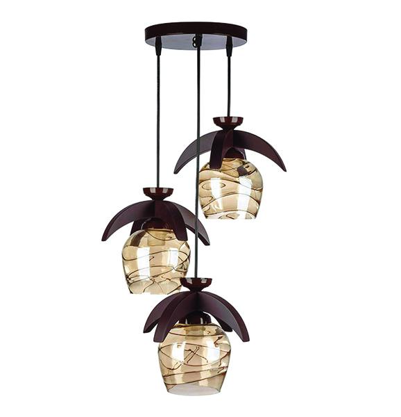 چراغ آویز چوبی چشمه نور سه شعله کد G570/3H-BR قهوه ای