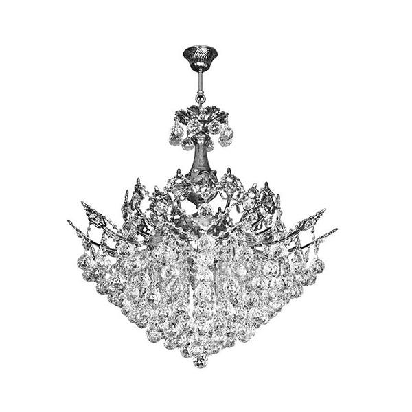 لوستر کریستالی چشمه نور 15 شعله کد 2644/10C کروم
