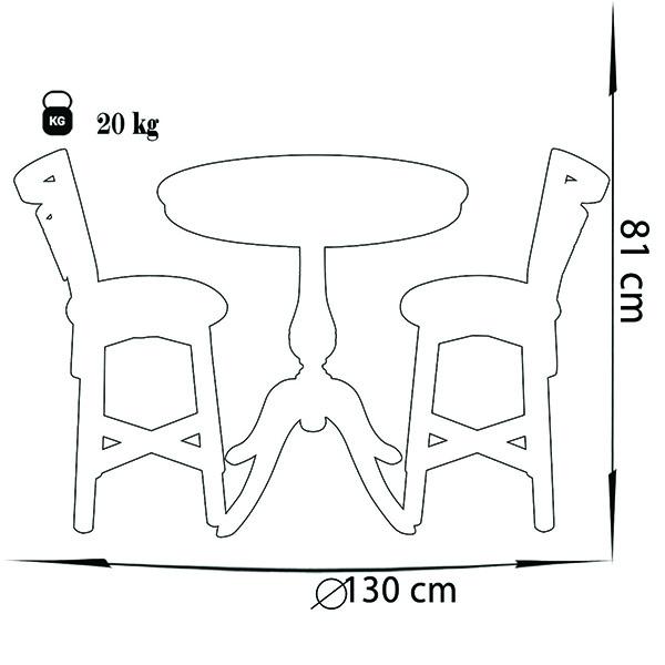 میز و صندلی ناهار خوری چوبی چشمه نور کد MA-6042-CR کرم