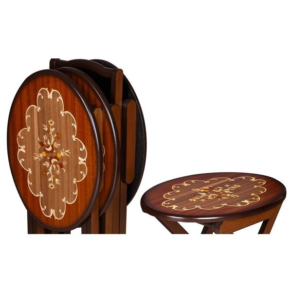 میز عسلی چوبی معرق تاشو چشمه نور کد D-102-BR مجموعه 4 عددی قهوه ای