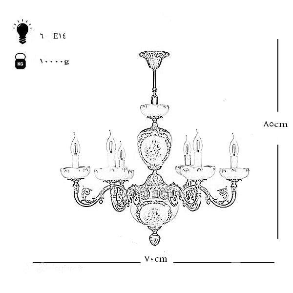 لوستر سرامیکی چشمه نور 6 شعله کد C2912-B برنز