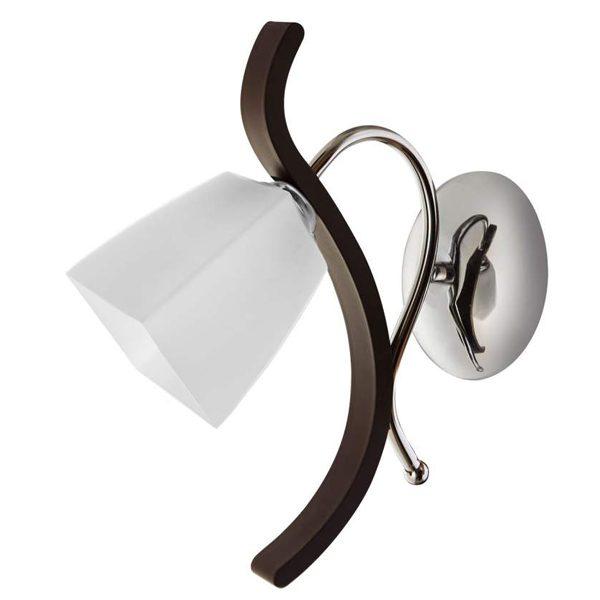 چراغ دیواری چوب و استیل چشمه نور کد 838/1W-C-BR قهوه ای
