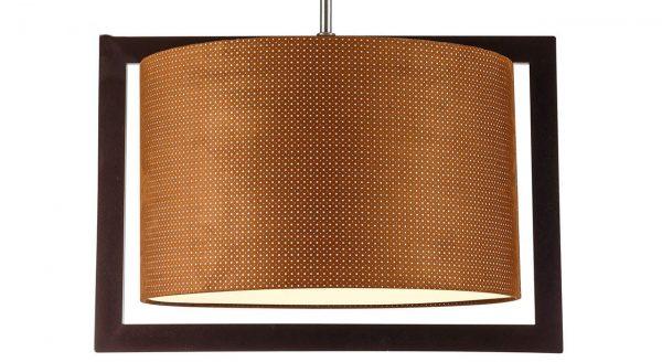 چراغ آویز چوبی چشمه نور کد A7035/1H-BR-BR شید قهوه ای