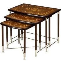 میز عسلی چوبی چشمه نور کد D-108-BR مجموعه 3 عددی قهوه ای