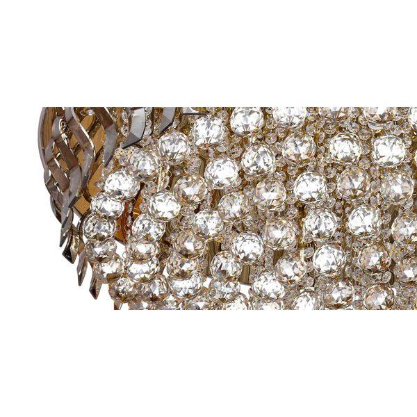 لوستر سقفی کریستالی چشمه نور 20 شعله کد M6638/80-S-G طلایی