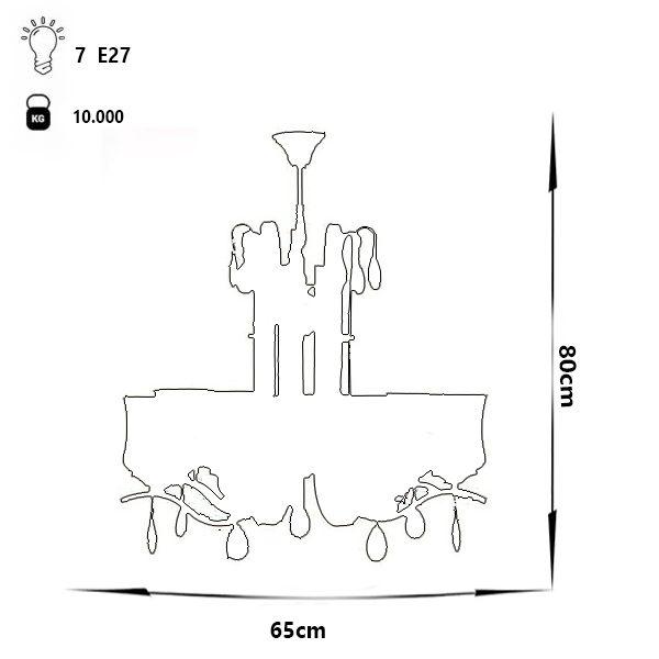 لوستر فلزی چشمه نور 7 شعله کد H2608/7A آنتیک