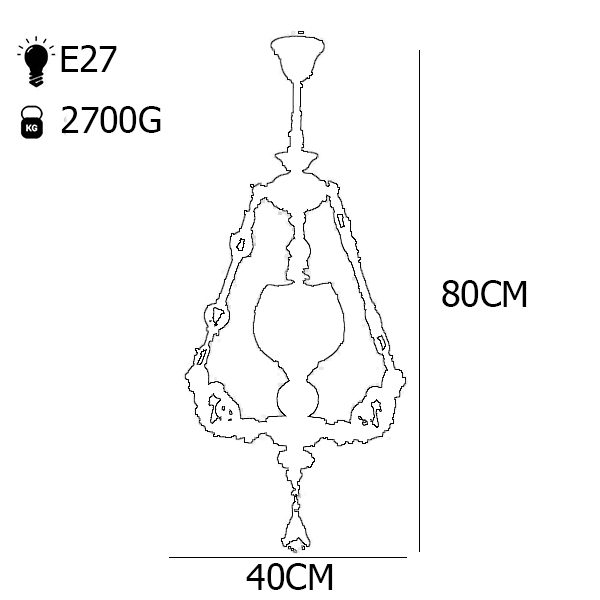 چراغ آویز فلزی و دایکاست چشمه نور 1 شعله کد S3553-A آنتیک