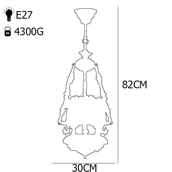 چراغ آویز برنزی 3 شعله چشمه نور کد S3585/3H-B برنز