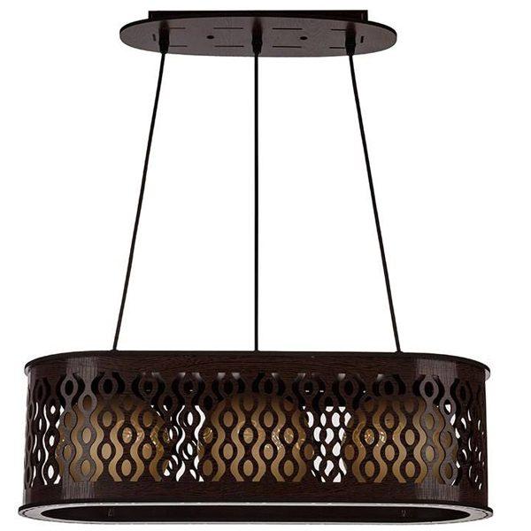 چراغ آویز چوبی چشمه نور 3 شعله کد D3408/3H-BR قهوه ای