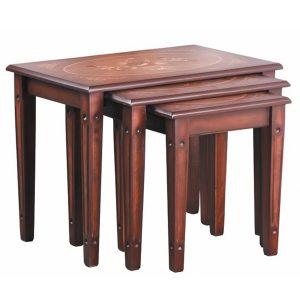 میز عسلی چوبی چشمه نور کد A-107-BR مجموعه 3 عددی قهوه ای