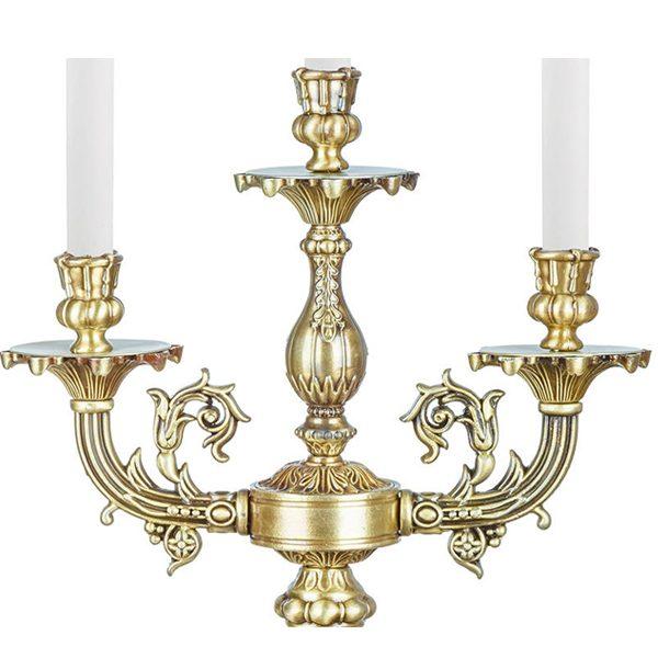 شمعدان برنزی سه شعله چشمه نور کد S3584/3T-A آنتیک