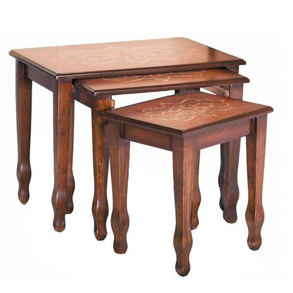 میز عسلی چوبی چشمه نور کد A-106 مجموعه 3 عددی قهوه ای