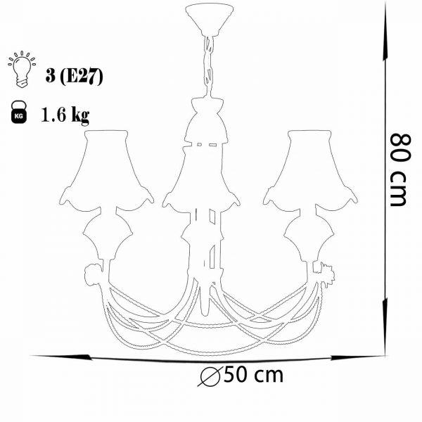 لوستر فلزی 3 شعله چشمه نور مدل A2206/3-MIX طرحدار