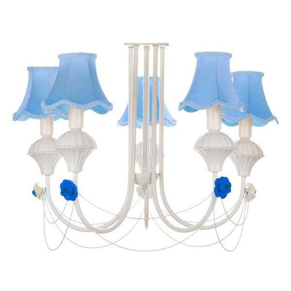 لوستر فلزی چشمه نور 5 شعله مدل A2206/5-BL آبی