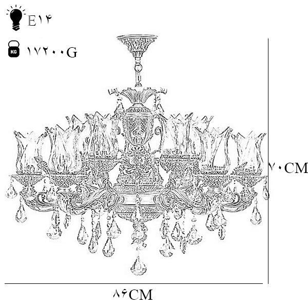 لوستر دایکاست 12 شعله چشمه نور مدل M3412/6+6-A آنتیک