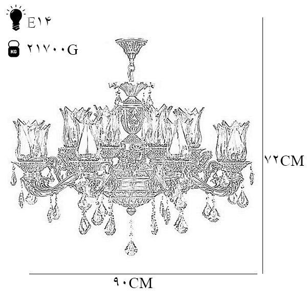 لوستر دایکاست 16 شعله چشمه نور مدل M3412/8+8-A آنتیک