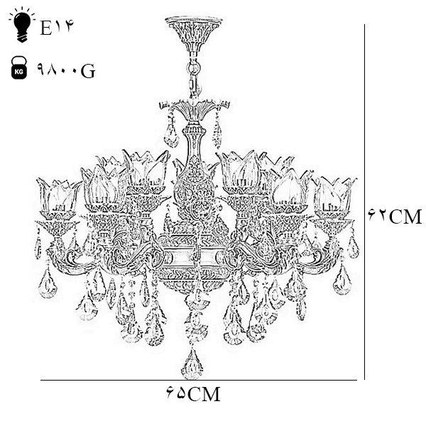 لوستر دایکاست 10 شعله چشمه نور مدل M3413/5-5-A آنتیک