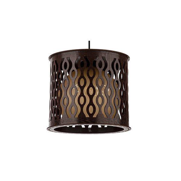 چراغ آویز چوبی چشمه نور تک شعله D3406/1H-BR قهوه ای