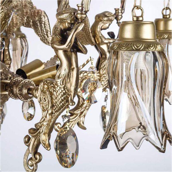 لوستر برنزی طرح فرشته 8 شعله چشمه نور کد C2135/4+4-A آنتیک