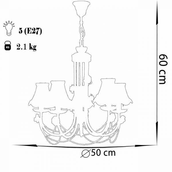 لوستر فلزی 5 شعله چشمه نور مدل A2205/5-MIX طرح دار