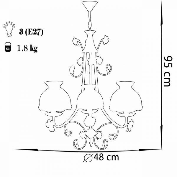 لوستر فلزی 3 شعله چشمه نور مدل A2211/3-PUR بنفش