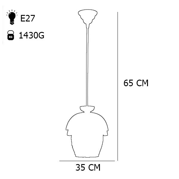 چراغ آویز چوبی چشمه نور مدل G570/1H-BR قهوه ای
