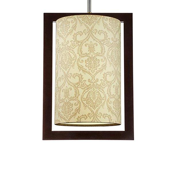 چراغ آویز چوبی چشمه نور کد A7039/1H-BR-MIX طرح دار