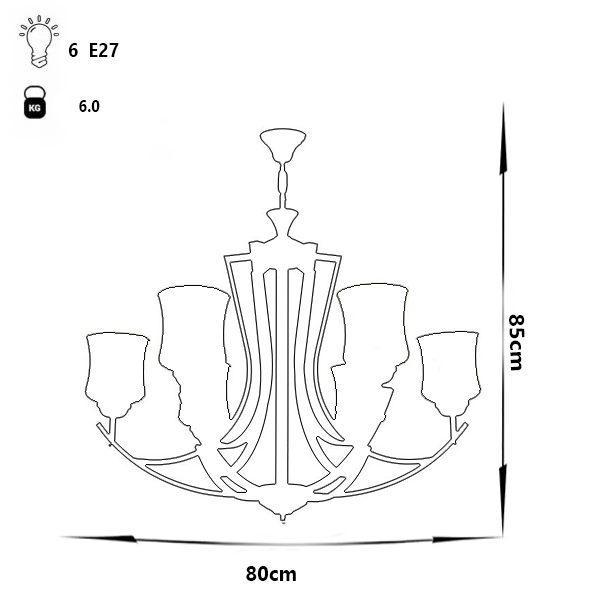 لوستر فلزی چشمه نور مدل H2618/6-BK مشکی