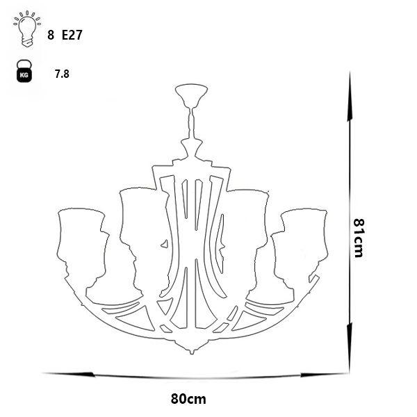 لوستر فلزی چشمه نور مدل H2618/8-BK مشکی