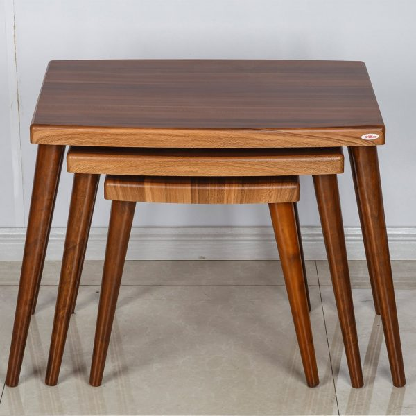 میز عسلی چوبی چشمه نور کد D-122-BR مجموعه 3 عددی