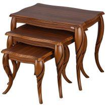 میز عسلی چوبی چشمه نور کد D-124-BR مجموعه 3 عددی