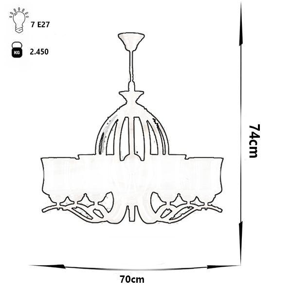 لوستر فلزی 7 شعله چشمه نور مدل H2610/7A آنتیک