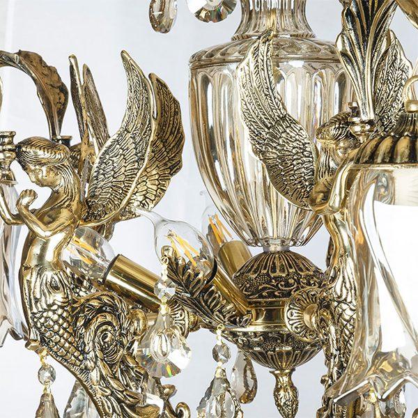 لوستر برنزی طرح فرشته 10 شعله چشمه نور کد C2163/5+5-BO
